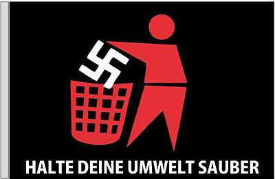 Flagge schwarz Motiv in rot: Halte deine Umwelt sauber 100x150 cm