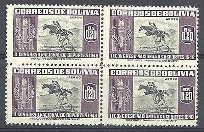 Bolivia 1951 Sc# C150 Airmail Horsemanship sport block 4 MNH