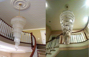 LARGE ENTRYWAY FOYER LIGHT FIXTURE CHANDELIER +205 ROD CRYSTALS