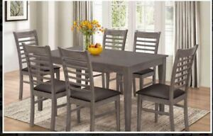 SOLID WOOD GREY COLOR DINETTE SET WITH 6 CHAIRS