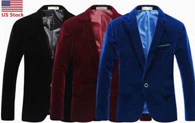 US Men Velvet Blazer Slim Fit Coat Dinner Suit Jacket Smart Formal Casual - Velvet Suits