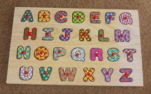 Large Wooden Alphabet Peg Puzzle