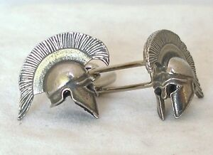 Greek Warrior Helmet Cufflinks in Fine English Pewter, Gift Boxed