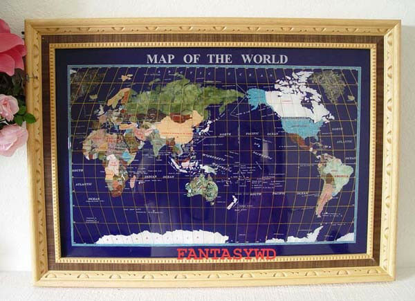 """Finest collector model, 29""""  REAL STONE BOARD BLUE LAPIS GEMSTONE MAP WITH WOOD"""