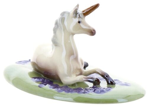 Hagen-Renaker Specialties Ceramic Unicorn Lying Figurine Field of Violets Base