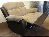 2 Seater Manual Recliner Sofa Beige/Brown. Can Deliver