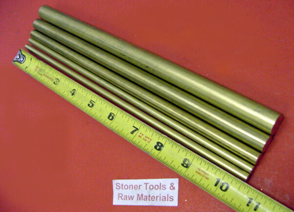 "5 Pieces 1/4"",3/8"",1/2""& 5/8"" 360 BRASS SOLID ROUND ROD 10.5"" long New Bar Stock"