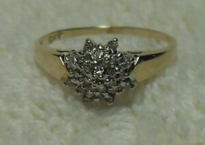 """10k  y/gold """"Round Diamond Cluster"""" Engagement Ring.  - Size 8"""