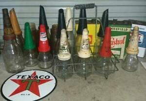 WANTED Old Tins Oil Bottles enamel sign Bowser  OLD SHOP SIGNS