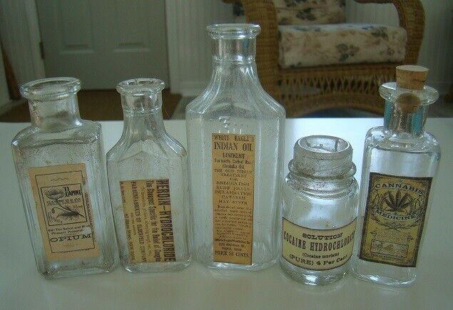 Vintage Lot of Five Clear Medicine Reproduction Bottles