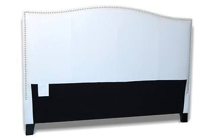 King Size White Genuine Leather headboard for Bed w/ Silver
