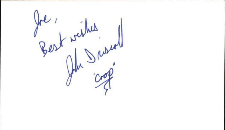 "JOHN DRISCOLL GUIDING LIGHT Signed 3""x5"" Index Card"