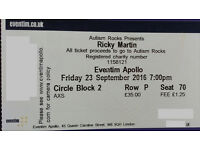 One Ricky Martin TICKET! 23th Sept - London