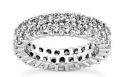 4.20 carat Round Diamond Ring 2 row Wedding Band Sz 6 F-G color VS/SI1 clarity