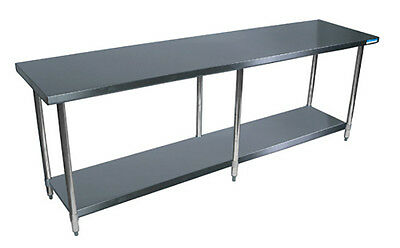 Bk Resources 96x 24 Work Table 18g Stainless Steel Top Wturndown Edges