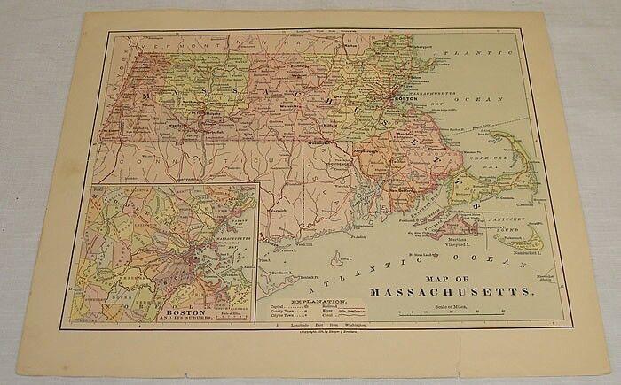 1876 COLOR MAP of MASSACHUSETTS