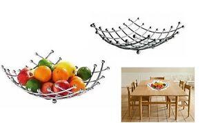 Chrome Metal Fruit Basket Holder Kitchen Dinning Table Decoration Fruit Bowl
