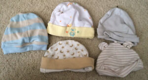 Lot of 5 Baby HATS Clothing Size 0-3 Months Newborn