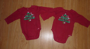2 onsies My First Christmas, size 6 - 9 months $ 3 for both