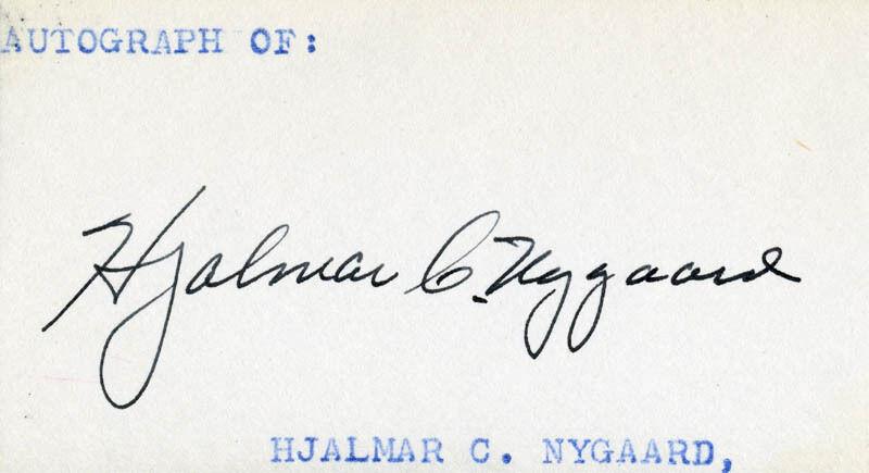 HJALMAR CARL NYGAARD - SIGNATURE(S)