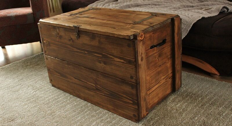 Rustic Wooden Chest Trunk Blanket Box Vintage Coffee Table Picclick Uk