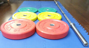 Rogue York Olympic Bar Rubber Color Bumper Plate Weight Set