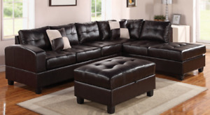 SECTIONAL SOFA COUCH IN BONDED LEATHER WITH OTTOMAN