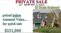 price below assessed value, to sell quickly...
