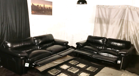 ; Dfs new ex display black real leather recliners 3+2 seater sofas