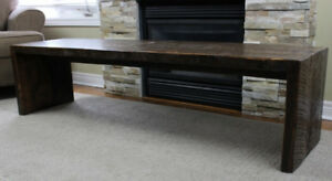 Gorgeous handmade hand planed harvest coffee table bench