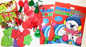 KIDS CHRISTMAS PACK-JUMBO Coloring Bk,Stencils  PUZZLES & STAMPS