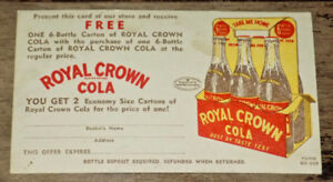 VINTAGE ROYAL CROWN COLA FREE OFFER ADVERTISING CARD FROM 1950s