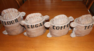 BURLAP BAG SACK CANISTERS (4 PC), HAND MADE