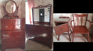 Dresser (x2) and Mirror (x2), Bedside table and Chair Set