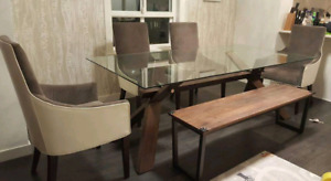 Dining Table Set (Glass Table+4Chairs+Bench)