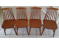 Vintage Retro Set of 4 Ercol Style Stick Back Dining Chairs & Dinette Table