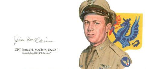 James McClain Signed Cut Signature GOE Lithograph WWII B-24 Liberator