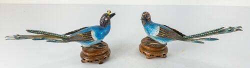 Antique Vintage Chinese Enamel Silver Filigree Birds of Paradise Inlaid Bases