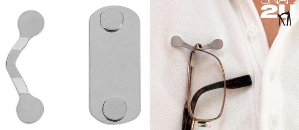 magnetischer Brillenhalter Edelstahl mit starkem Magnet Befestigung an Kleidung