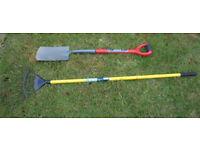 Shovel and leaf rake