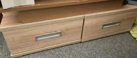 Two bed side low cabinets,