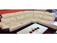 * DELIVERY AVAILABLE * OFFERS * Black & White real leather corner sofa EXCELLENT MINT condition