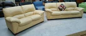Lovely cream leather 3 & 2 seater sofa in vgc can deliver 07808222995