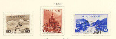 Norway 1938 Reindeer Scenic Stamps #181-83 CV $4 5 Used FREE Ship after 1st Lot