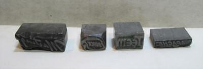 Lot Of 4 Vintage Letterpress Printing Blocks Buick Apache Martings Teem