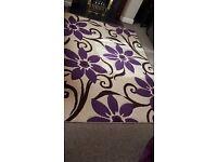 ***Cream/purple flower rug ****