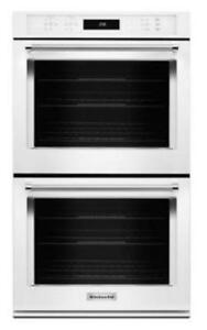 "KITCHENAID NEW KODE500EWH 30"" DOUBLE, 5.0 CU FT +5.0 CU FT TRUE CONVECTION,FIT SYSTEM, DOUBLE WALL OVEN (BD-1548)"