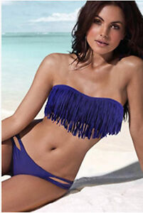 11Color New Sexy Lady Tassel PAD Bandeau Fringe Top Bottom BIKINI Beach Swimwear