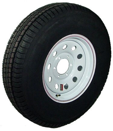 "15"" 6-5.5"" Bolt Circle White Modular Wheel and ST22575R15E Radial Trailer Tire"