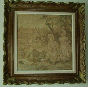 antique  tableau cadre 1800 1900 tapisserie victorien rococo